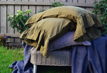 Olive green natural linen pillow case with ruffle