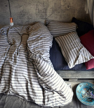 Vintage Black Ticking stonewashed linen duvet/quilt cover