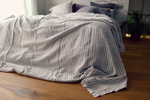 Rustic Ticking Stripe Heavy Weight stonewashed Linen Bed cover/Coverlet