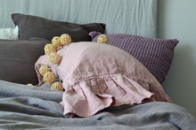 Rose Quartz Heavy linen pillow case with ruffle