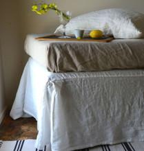 Pure Bright white Box Pleated Dust Ruffle, Luxurious stonewashed linen