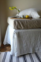 Pure Bright white Box Pleated Dust Ruffle, Luxurious stonewashed linen