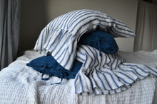 French Navy Ticking Heavy linen pillow case with ruffle