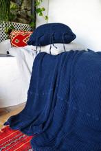 Indigo Blue Waffle Linen Pillow Case. Super heavy weight linen