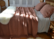 Waffle Linen Blanket, Ginger Spice. Extra Heavy natural linen