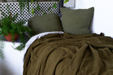 Olive Green Waffle Linen Pillow Case. Super heavy weight linen