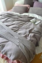 Fossil Grey Rustic Heavy Weight Linen Duvet/ Quilt Cover