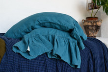 Teal Heavy linen pillow case with ruffle