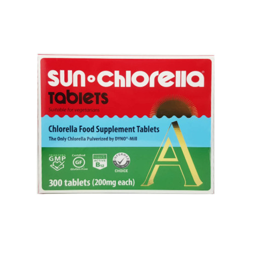 Sun Chlorella, A, 200mg, 300 tablets. Sun Chlorella® 'A' is the only chlorella that is pulverised by DYNO®- Mill.