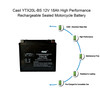 YTX20L-BS 12 Volt 18 AH 270 CCA AGM Power Sport Battery - Casil Battery