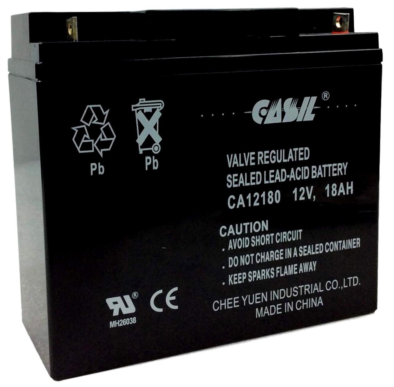 Casil CA12180 12v 18ah AGM Sealed Lead Acid Battery Nut & Bolt