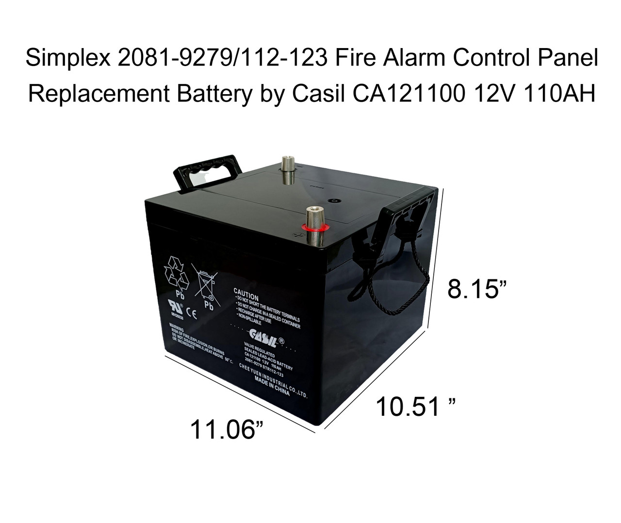 Simplex Grinnell 2081-9279 Fire Alarm Control Panel Battery 12V 110ah