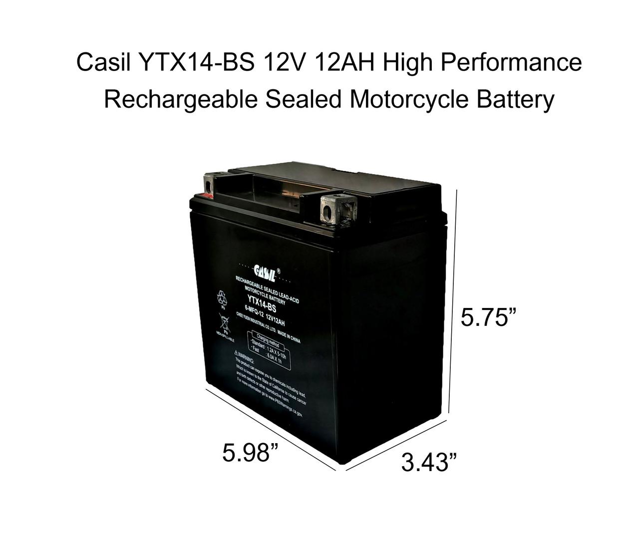 YTX14-BS - 12V 12AH 200 Cca - SLA Power Sport Battery - Casil Battery