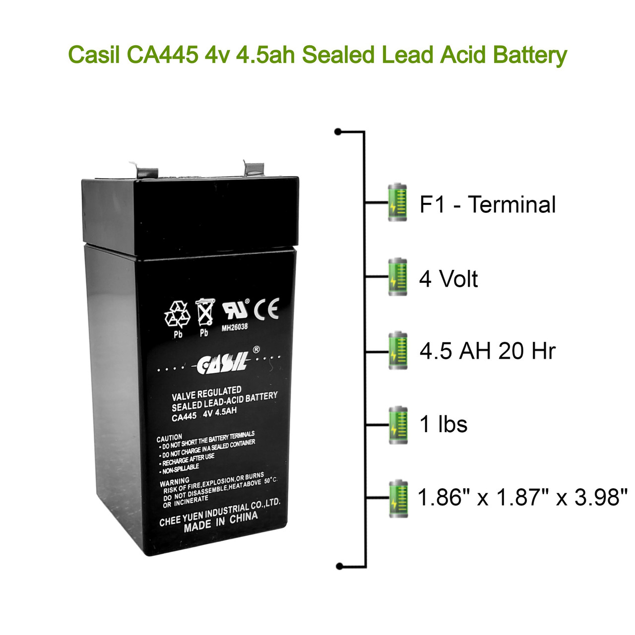 Casil CA445 4V 4.5AH for Fi-Shock SS-440, Zareba 2 Mile Fence Solar Charger AGM (Lead Acid) Battery