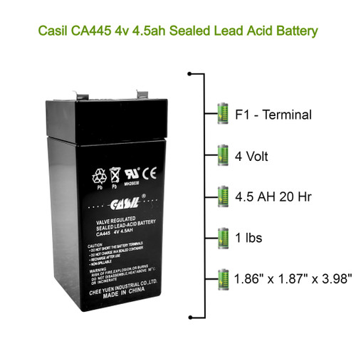 Casil CA445 4v 4.5ah for Fi-Shock SS-440, Zareba 2 Mile Fence Solar Charger