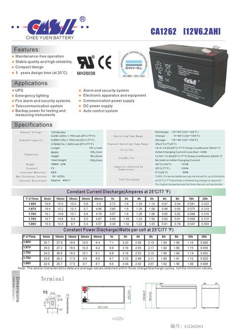 Simplex 2081-9272 Fire Alarm Control Panel Battery 12V 6.2Ah