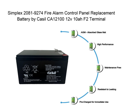 Simplex Grinnell 2081-9274 Fire Alarm Control Panel Battery 12V 10Ah