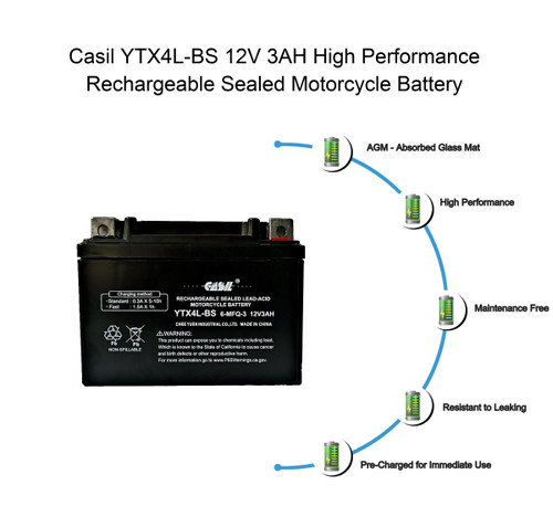 YTX4L-BS 12V 3AH 50 CCA Power Sport SLA Battery - Casil Battery