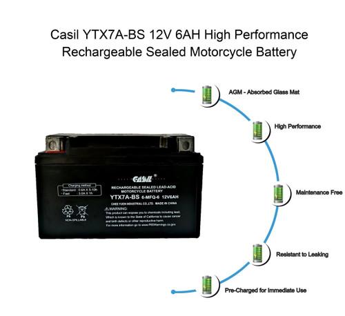 YTX7A-BS - 12V 6AH 105 CCA - SLA Power Sport Battery - Casil Battery