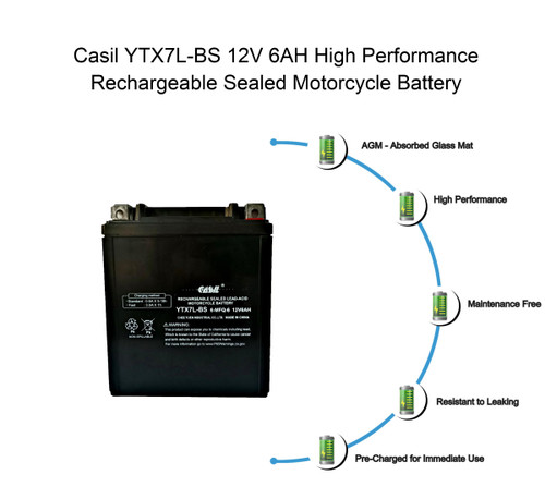 YTX7L-BS - 12V 6AH 100 CCA - SLA Power Sport Battery - Casil Battery