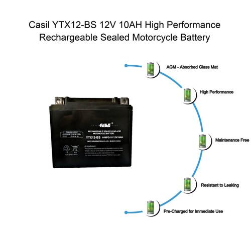YTX12-BS - 12V 10AH 180 CCA - SLA Power Sport Battery - Casil Battery