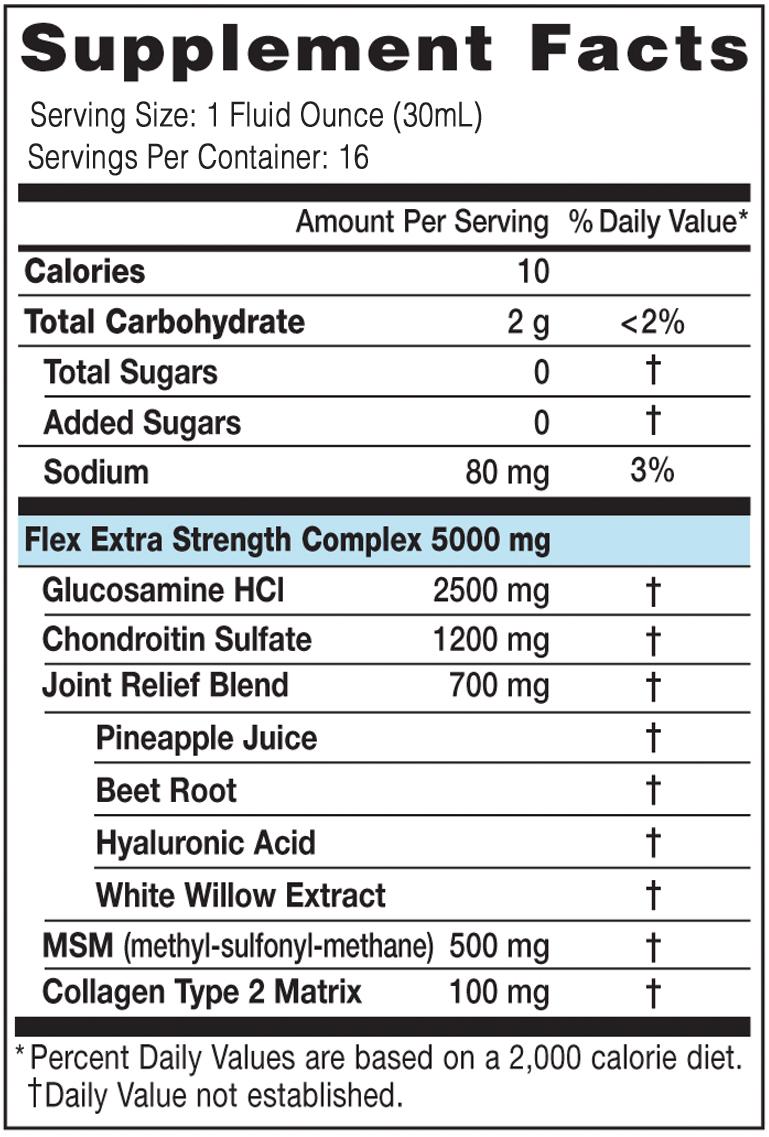 Flex Supplement Facts 16oz
