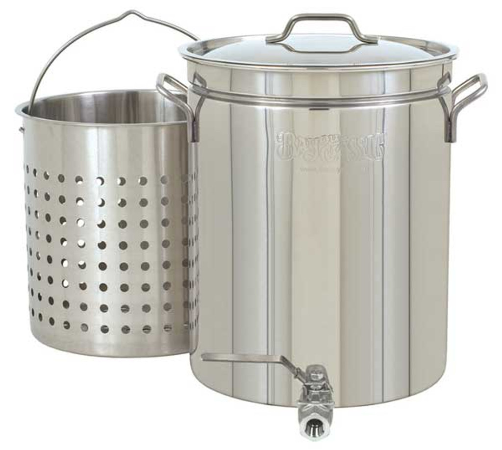 Bayou Classic 40 Quart Stainless Steel Stockpot with Spigot, Basket & Lid-1140