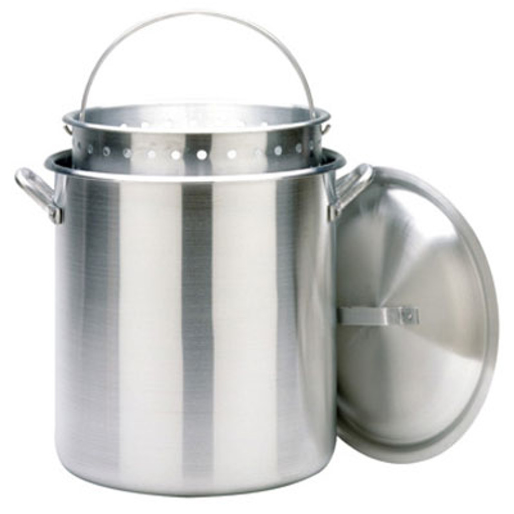 120 qt. Aluminum Stockpot with Lid & Basket - 1200