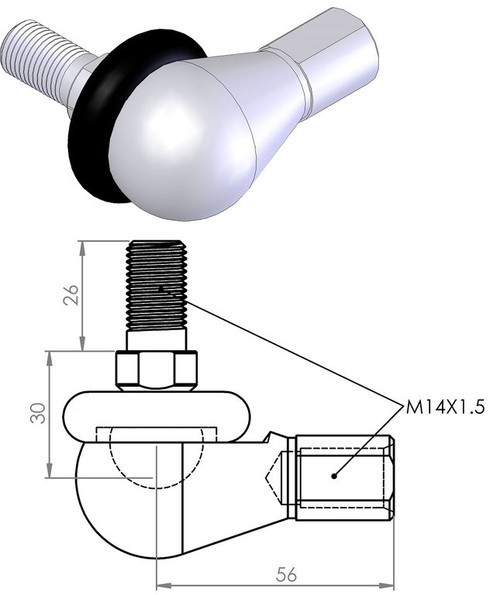 RBL14 OFFSET BALL PRESSURE CAST ALUMINIUM BOOTED ROD END