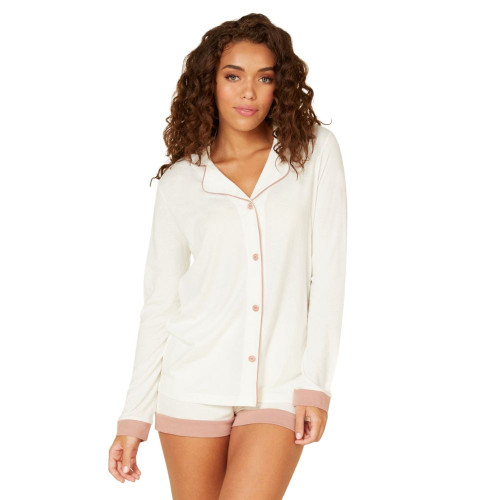 Cosabella Bella Long Sleeve Boxer Pyjamas - Ivory