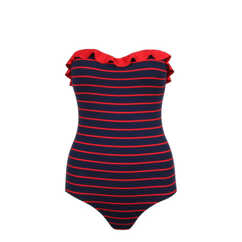 Marie Jo Swim Celine Bandeau  Navy Red Swimsuit