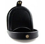 Horse Shoe Leather Coin Purse with Snap Black Open
