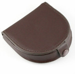 Horse Shoe Leather Coin Purse with Snap Brown