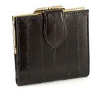 Eel Skin Leather Ladies Wallet with Coin Case-brown