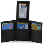 Trifold Leather Wallet with Flip Out ID