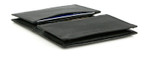 Double Gusseted Leather Credit Card Holder - Black