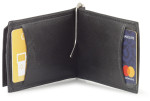 leather t fold money clip wallet