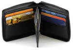 Zippered Wallet with Center Credit Card Wing