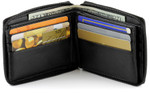 Zippered Wallet with Center Credit Card Wing Open