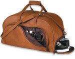 Organizer Leather Duffel with Shoe Compartment