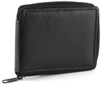 Mens Wallet with Zipper and 12 Card Slots
