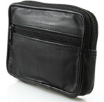 Leather Three Zip Pouch with Key Ring