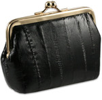 Eel Skin Leather Kiss Lock Change Purses