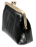 Eel Skin Leather Kiss Lock Change Purses side