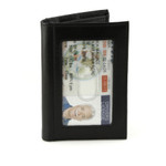 Credit Card and ID Holder with Extra Compartment Front Black