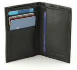 Credit Card and ID Holder with Extra Compartment Open Black