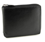 Men's Zipper Wallet with Coin Pocket Front Black