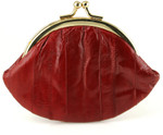 Eel Skin Kiss Lock Change Purse - Red