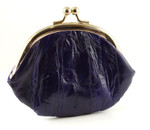Eel Skin Kiss Lock Change Purse-Purple
