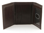 Trifold Wallet with Vertical Pockets Open Brown